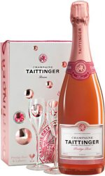 Taittinger - Brut Prestige Rose & 2 Glass Pack
